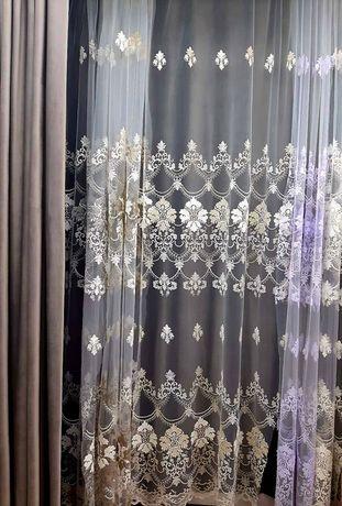 Тюль з МАСИВНОЮ вишивкою ціна 200грн метр