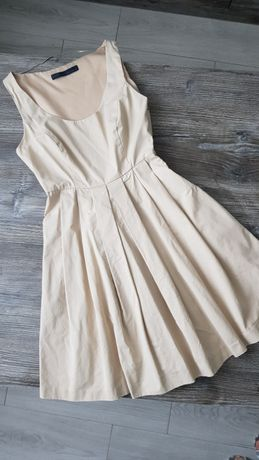 Бежевое платье zara, XS-S