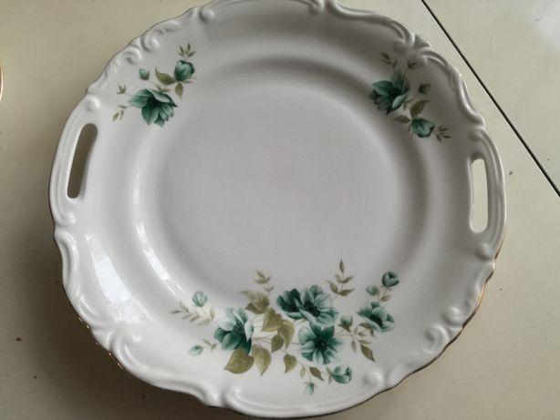 Duży talerz oraz talerze deserowe (6szt) z pięknym motywem, CHODZIEŻ