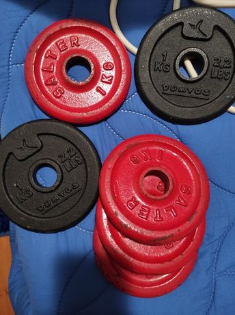 8 Pesos/discos ginásio: 6 de 1 kg e 2 de 2kg