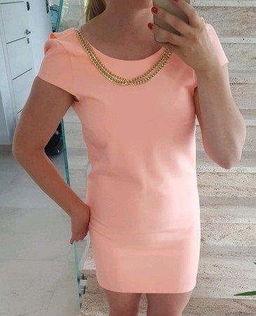Łososiowa sukienka elegancka na wesele 36 S