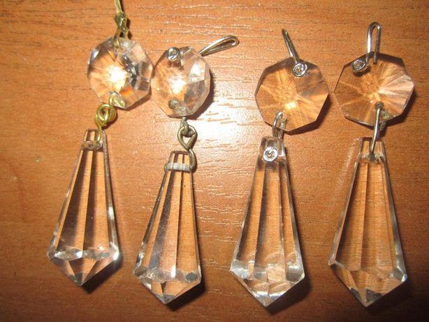 Śliczne kryształki,szklane sopelki dł.-5,4 cm.