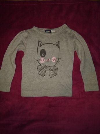 Szary cienki sweterek z kotkiem 86/92