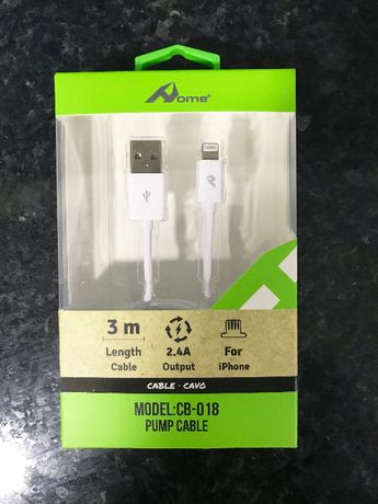 Cabo carregador lightning para iPhone / iPad / iPod - 3 Metros - Novo