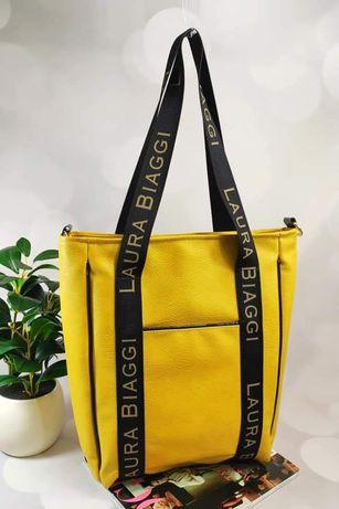Żółta torba shopper bag XXL Laura BIAGGi nowa kolekcja wiosna 2021