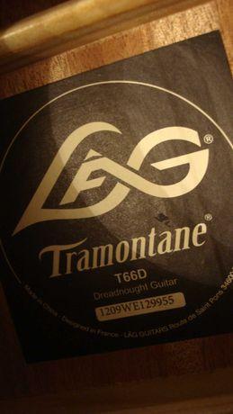 Акустическая гитара Lag Tramontane T66D с чехлом.