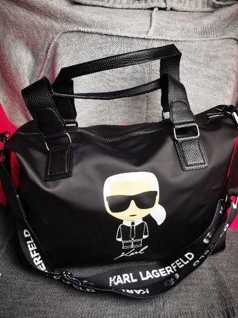 Torba podróżna Karl Lagerfeld czarna torebka weekendowa nowość