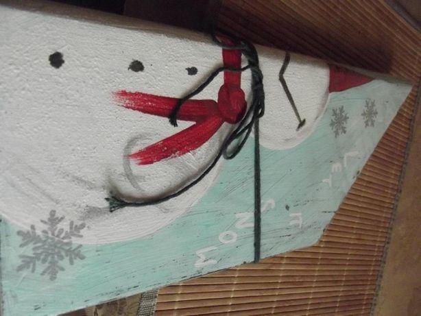 Ozdoba handmade bałwan zima deska Boże Narodzenie święta