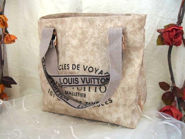 Beżowa marmurkowa torba miejska Louis Vuitton damska torebka