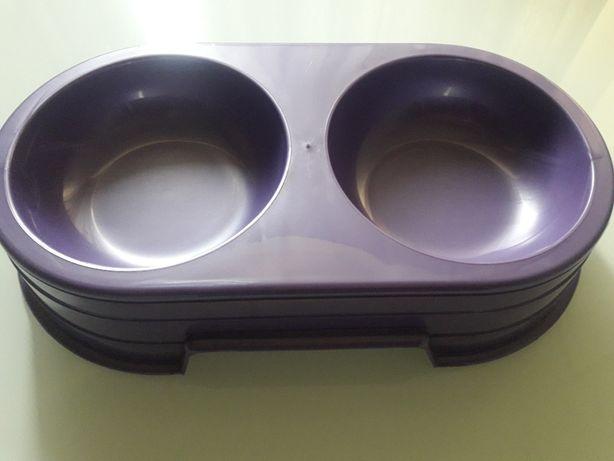 Sum-Plast - Miska dwukomorowa dla psów i kotów 0,6 L