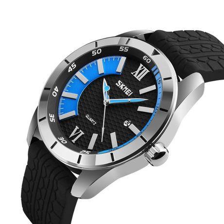 Zegarek męski stalowa koperta gumowy pasek analogowy SUPER wygląd