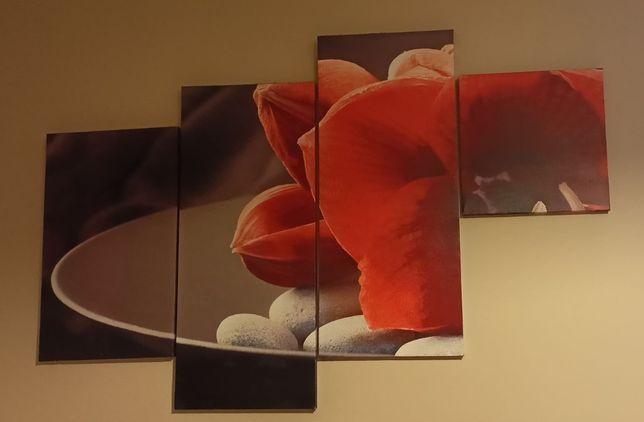 Obraz 4-częściowy - kwiaty
