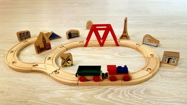 Drewniana Kolejka zabawka dydaktyczna