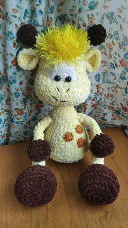 Вязаная игрушка плюшевый жирафик подарок малышу