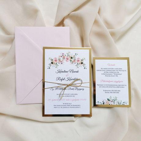 Zaproszenia ślubne w stylu GLAMOUR jednokartkowe róż