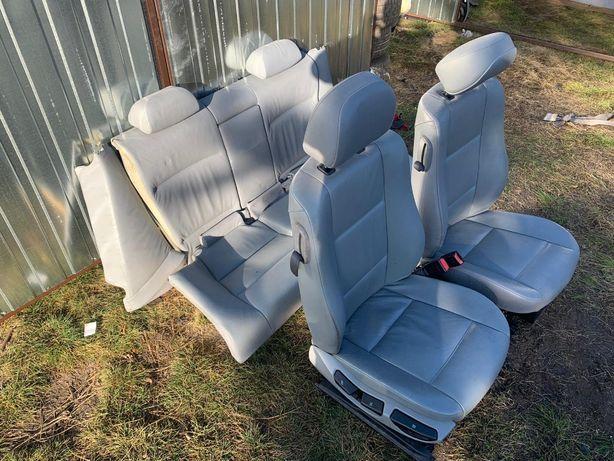 Wnętrze fotele boczki szare skóry BMW E46 coupe