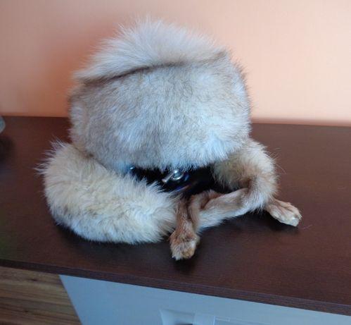 czapka etola lis srebrno biało brązowy naturalne futro toczek szal