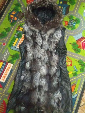 Натуральная жилетка, жилет, куртка, чернобурка, кожа, нов сост