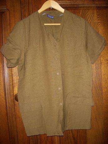 Ładna bluzka rozpinana ciemno zielona z krótkim rękawkiem 38