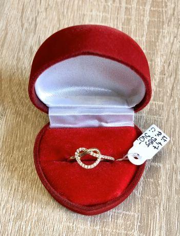 Złoty Pierścionek Serce z Cyrkoniami Pr.585 NOWY !!!