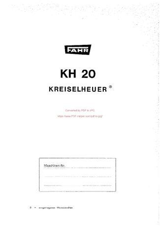 Katalog części przetrząsacz DEUTZ FAHR KH 20