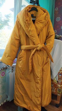Пальто - одеяло зимнее горчично - желтое размер М- L (46-48)