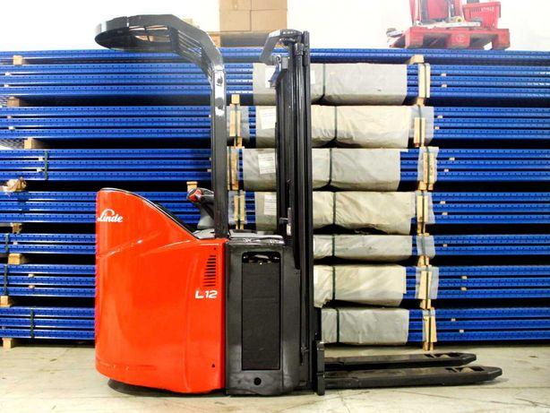 Porta-paletes com elevação (stacker) elétrico Linde L12 SP - usado