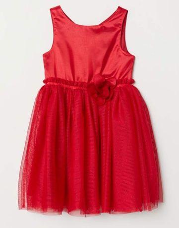 Новое нарядное красное платье H&M на 2-3 года (98), с биркой