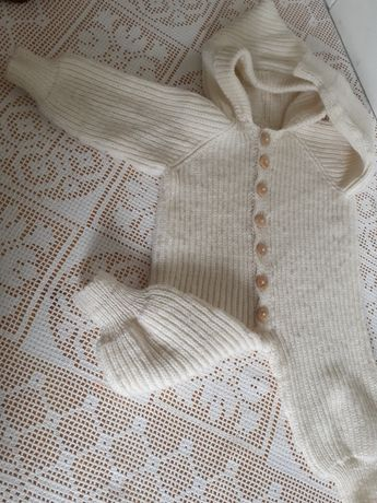 Kombinezon pajac śpiochy dziergany na drutach welna welniany