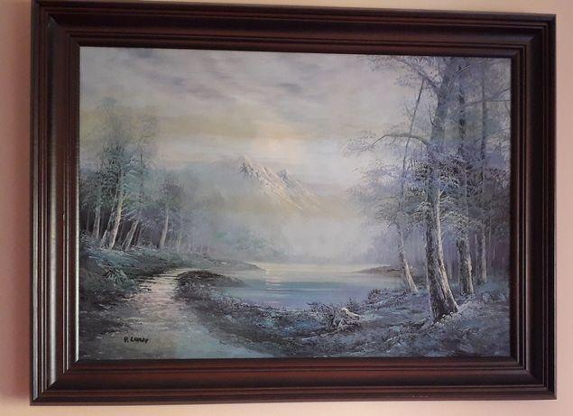 Obraz olejny w ramie. Reprodukcja P. Lande. 80 x 60 cm.