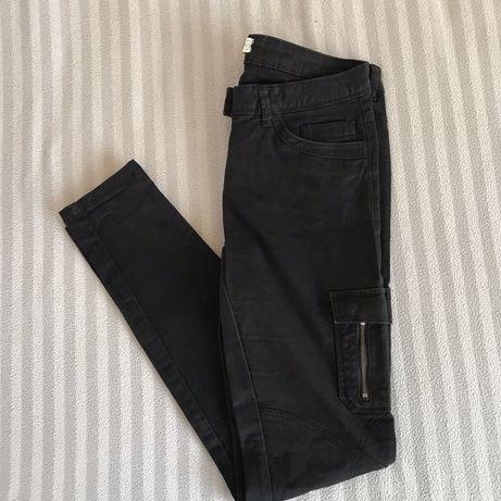 czarne spodnie proste C&A rozmiar M/38 zamki