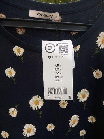 Orsay 34 XS koszulka bawełniana bawełna bluzka bluzeczka stokrotki