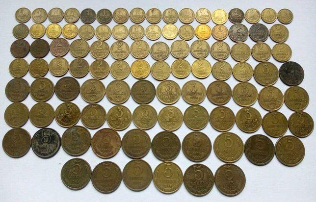 1,2,3,5 копеек СССР 1961-1991, 101 монета. погодовка.