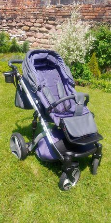 Wózek dzieciecy 3w1 Lonex Comfort Prestige szaro-grafitowy ekoskóra