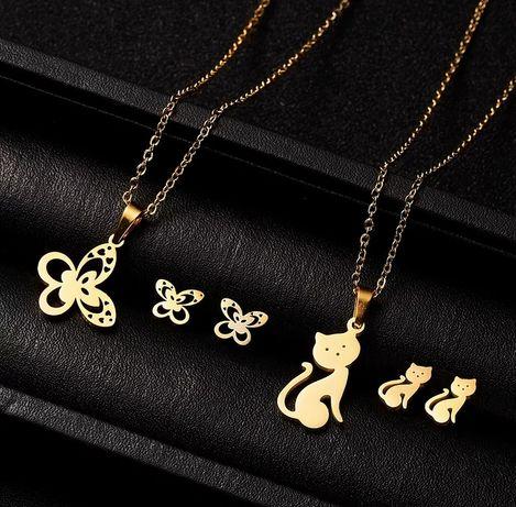 Słodkie Złote Komplety Biżuterii