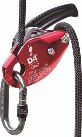 Przyrząd zjazdowy Descender D4 ISC czerwony nowy