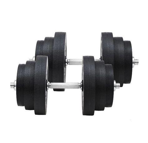 Conjunto de Halteres Pesos de Fitness 40KG Ajustável c/ Barra Aço e