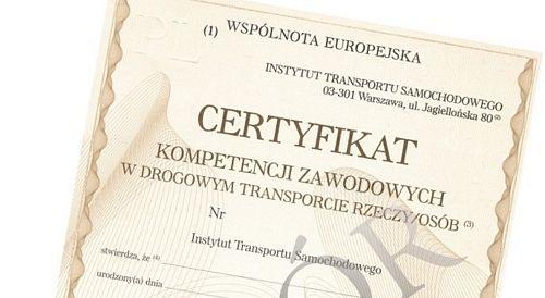 Użyczę Certyfikat Kompetencji Zawodowych przewóz rzeczy