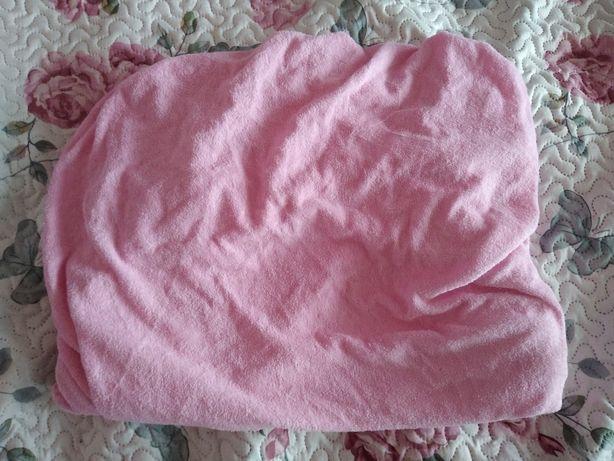 Prześcieradło do łóżeczka dziecięcego frotte różowe