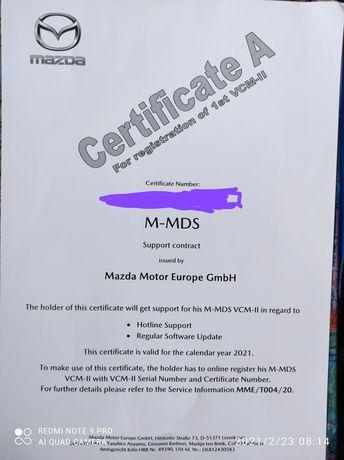 ORYGINALNY Certyfikat VCM Mazda