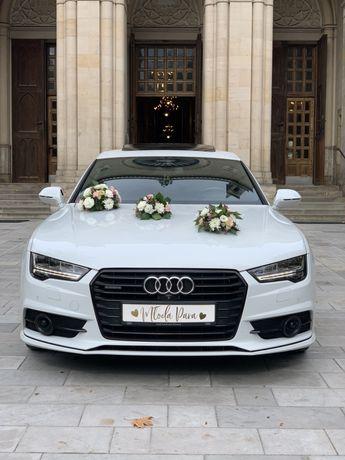 Samochód Auto do ślubu, Audi A7 Białe.Atrakcyjne ceny/Bmw 5
