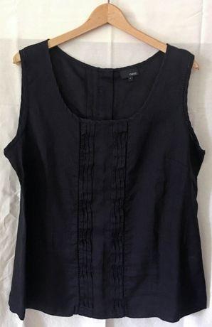 NOWA Czarna lniana bluzka damska bez rękawów NEXT, rozm. 44 (UK 16)