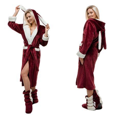Длинный женский махровый халат с ушками + сапожки в подарок