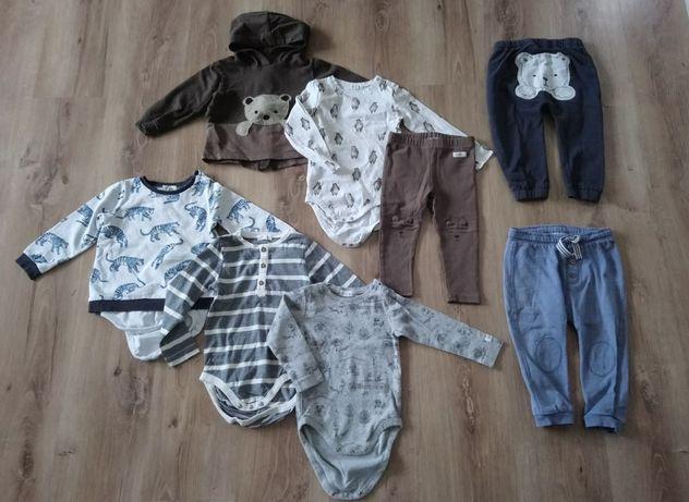 Newbie rozmiar 86 spodnie body bluzobody bluza miś misiem paski