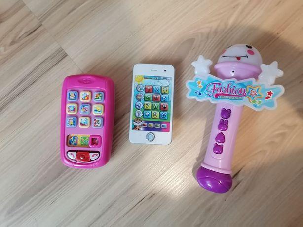 Zestaw grających zabawek telefony mikrofon