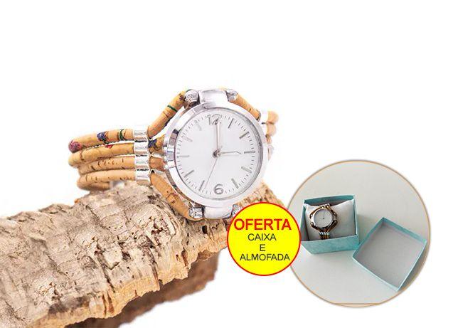 Relógio com bracelete em cortiça para senhora fabuloso