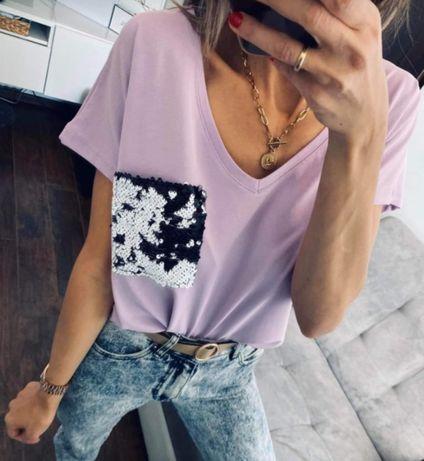 Nowa bluzeczka oversize fiolet kieszeń od xs s do l
