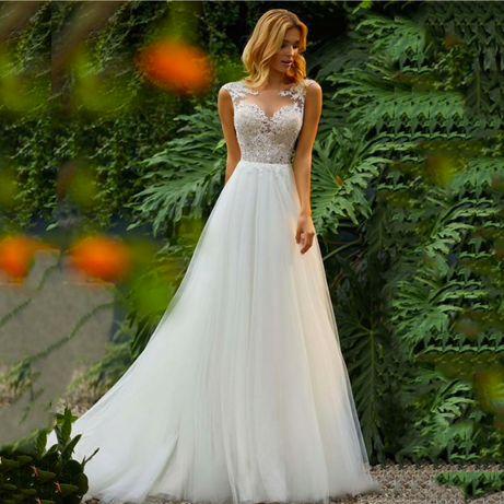 suknia ślubna linia-A guziki koronka 40 L, 42 XL, 44 XXL