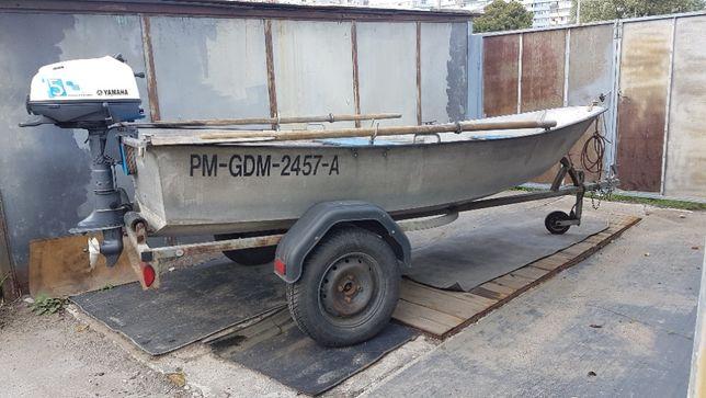 Łódź aluminiowa, łódka wędkarska + silnik + przyczepa