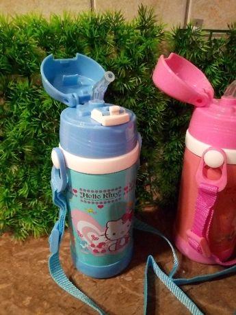 термос стальной детский с силиконовой трубкой и ремешком